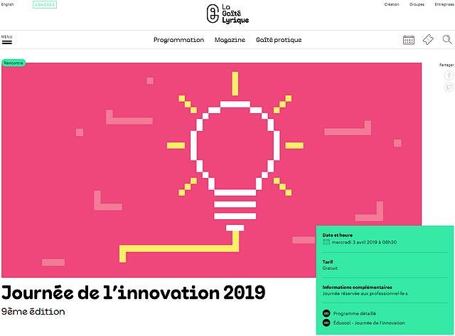 Journée de l'innovation (3 avril 2019). Théâtre de la Gaîté lyrique. Spectacle-recherche.
